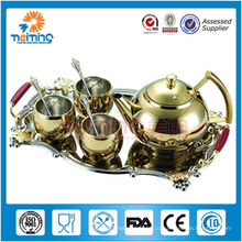 8 шт. чай горшок набор (золотой)