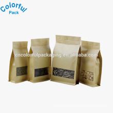Custom brown kraft paper square bottom bag with window
