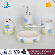 2014 Beautiful Gradient Blue Flower Ceramic Gift Bathroom Set