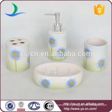 2014 Красивый градиент голубой цветок керамической подарочной ванной набор