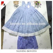 Blue hole white lace Lovely fabric Sets