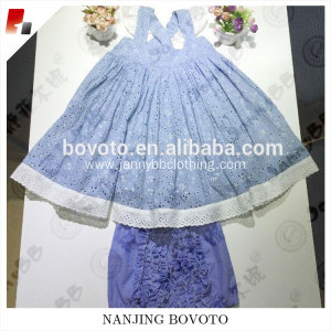 Designed  blue eyelet lace fabric Baby Girl Clothing Sets suit