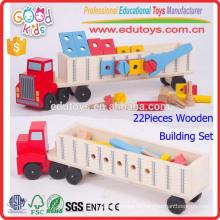Neues pädagogisches hölzernes LKW-Spielzeug, kundenspezifisches Logo scherzt Transport-LKW-Spielzeug, Kindergarten-Kinder Super hölzerner Spielzeug-LKW
