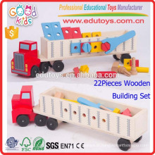 Novo brinquedo educacional de madeira para caminhão, logotipo personalizado brinquedo para caminhão de transporte de crianças, crianças de jardim infantil caminhão de brinquedo de madeira super