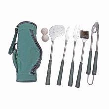 Golfe de 7 peças para churrasco em forma de grelhar ferramenta conjunto com carreg o saco, golfe Grip grelhar conjunto