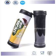High Quality Double Wall Plastic Coffee Travel Mug with Paper Insert