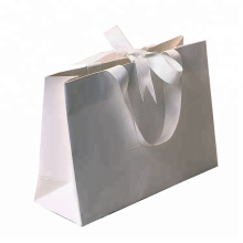 Custom logo printed recyclable aqueous coating art paper clothes shopping bag