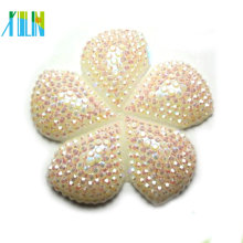 Top quality cabochon white AB resin flower beads