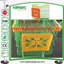 Frames plásticos da propaganda do carro do carrinho de compras do supermercado