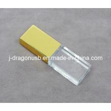 Gold Cap Crystal USB Flash Drive com logotipo 3D