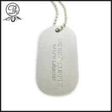 Brass dog tag colar de jóias de metal