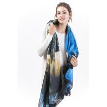 Châle X-Large à imprimé numérique Ambi-100% Silk; Écharpe en mousseline de soie