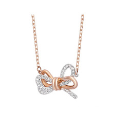 European American Fashion Jewellery Rose Gold Silver Jewelry Two-Tone Bow Crystal Short Clavicle Chain Gift Thin Chain Necklace for Women