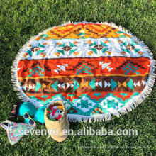fashion Ethnic style pattern with tassels Round Beach Towel RBT-088
