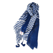 Basic Fashion print style women wide cotton printed stripe linen tassels scarf