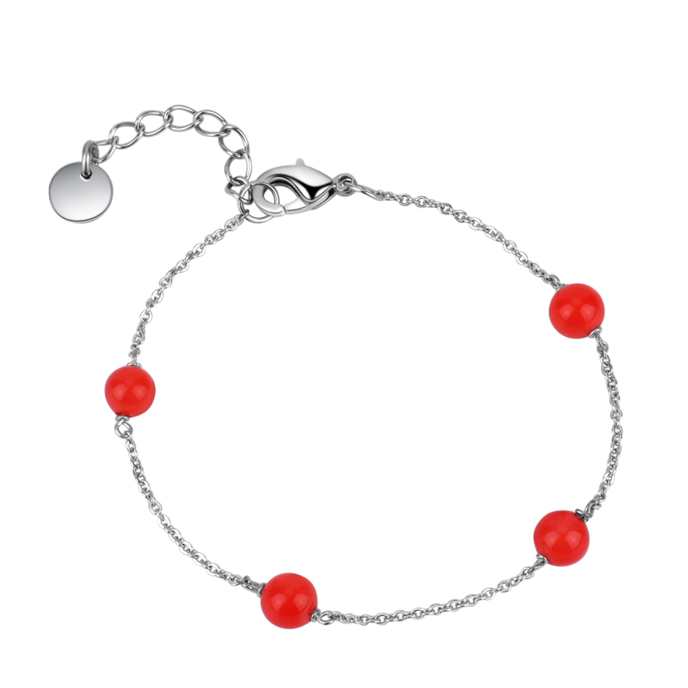 Serling Silver Red Pearl Bead Chain Bracelet