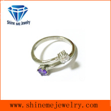 Fashion Girls Cross with Purple CZ Rings Jewelry