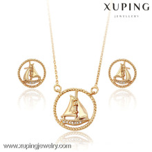 63734 Xuping fashion jewelry gold plated sailboat shaped sets with stone