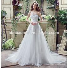 Vestido de boda nupcial atractivo del cordón del hombro 2017 vestido de boda lujoso del guangzhou del color blanco del verano nuevo con precios con el tren