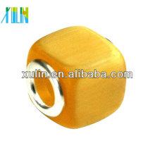 perlas de ojo de gato de cristal cuadrado en forma de agujero grande amarillo de alta calidad