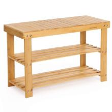 Natural Bamboo Shoe Rack Bench 2 Tier Shoe Organizer Entryway Seat Storage Shelf Hallway Furniture(Q12-4)