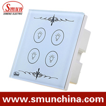 4-Tasten-Touch-Schalter, Fernbedienung Wandschalter, Weiß ABS Feuerfest 1500W