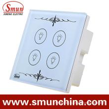 4 ключ Сенсорный Выключатель, пульт дистанционного управления настенный Выключатель, Белый ABS Пожаробезопасный 1500ВТ