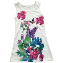 Beautiful Girl Vest in Children Girl T-Shirt with Flowers (SV-023)