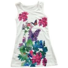 Menina bonita colete em crianças menina t-shirt com flores (sv-023)