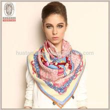 100% lã impressa Fleece pescoço Warmer lenço de lã