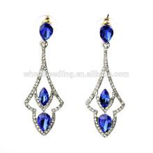 Ahuecar los pendientes azules de la joyería de la voga del diamante grande