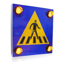 Aluminum solar warning LED pedestrian traffic road sign