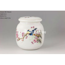Round Magpie Porcelain Tea Caddy / Canister