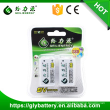 GLE 9V 680mAh Lithium iron 500-1000 Recycles Rechargeable Battery