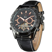 Leather Wrist automatic Stainless Steel CaseBack Watch