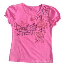 Футболка цветок милые девушки детей в детская одежда одежда Сгт-086