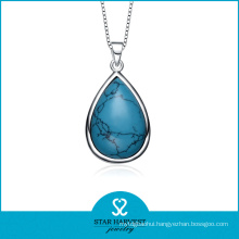 Wholesale Turquoise Birthstone Silver Pendant Necklace (SH-N0184)