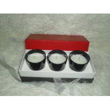 Conjunto de velas de vidro preto de alto brilho