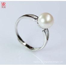 925 sólida prata casamento natureza pérola anel (er1603)
