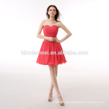 China OEM Latest Design Women Mini Chiffon Dress Ladies Watermelon Red Gown Evening Dress