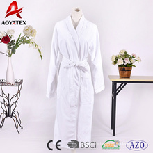 High quality bamboo double layer hotel cotton terry white bathrobe