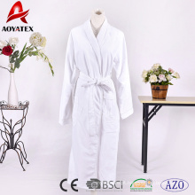 Alta qualidade de bambu dupla camada hotel terry algodão branco roupão