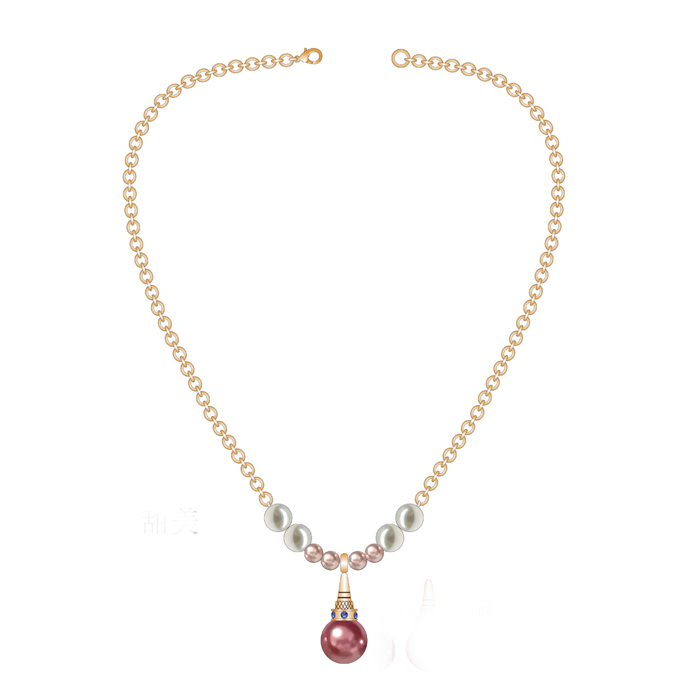 Pearl Pendant Necklace With Gold Chain Design
