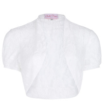 Belle Poque Women's Short Sleeve Cropped Short White Lace Bolero Shrug BP000217-2