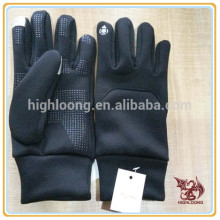Wholesale Winter Cycling Black Polyester Palm Silicon Fleece Gloves