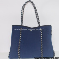 Blue and white neoprene beach tote bag