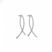 Chine Mode 925 Sterling Silver Pave Diamond Hoop boucles d'oreilles bijoux