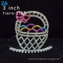 Lovely colored rhinestone easter eggs crystal kids tiara crown, pink crystal customized easter crowns