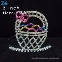 Прекрасные цветные стразы пасхальные яйца кристалл дети тиара корону, розовый кристалл настроить пасхальные короны