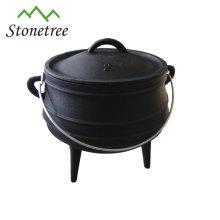 África do Sul 3 pernas Potjie Pot, panela de ferro fundido, caldeirão de ferro fundido para ao ar livre e camping